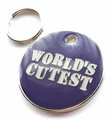Personalised Engraved Worlds Cutest Dog/Cat Pet ID Tag 27mm