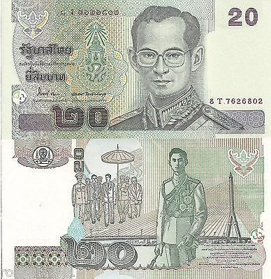 THAILAND 20 Baht Banknote World Paper Money UNC Currency Pick p-109 King Rama IX