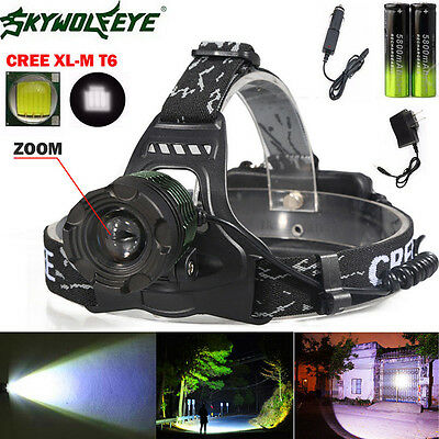 Zoomable 5000Lm Headlamp CREE XM-L T6 LED Headlight 18650 Light+ Charger Battery