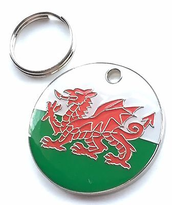 Personalised Engraved Wales Welsh Dragon Dog/Cat Pet ID Tag 25mm