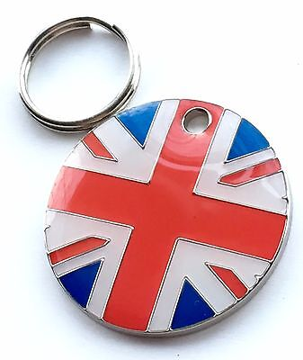 Personalised Engraved GB UK Union Jack Dog/Cat Pet ID Tag 25mm