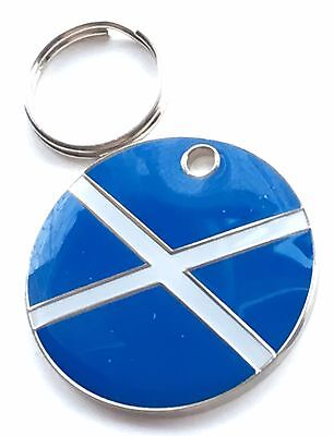 Personalised Engraved Scotland Saltire Dog/Cat Pet ID Tag 25mm