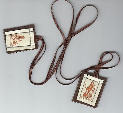 Carmelite Brown Scapular of Our Lady of Mount Carmel and St Simon Stock
