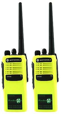MOTOROLA GP340 VHF 5 WATT TWO WAY WALKIE-TALKIE RADIOS x 2 HI-VIZ YELLOW