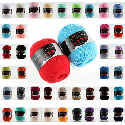 New 54 colors Soft Milk Crochet Cotton 50g Knitting Yarn Baby Knit Wool Yarn
