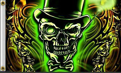 GLOW GREEN SKULL 3 X 5 MOTORCYCLE DELUXE BIKER FLAG #384 new SKELETON WITH HAT