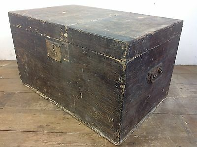 Antique Pine wood dovetailed Blanket chest trunk old vintage treasure Project