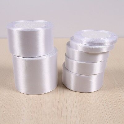 25Yards White Silk Satin Ribbon Wedding Party Decor Wrapping Xmas Apparel Sewing