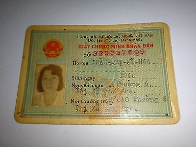 Socialist Republic Of Vietnam Female Photo ID Card Issued Year 1990 *Vintage*