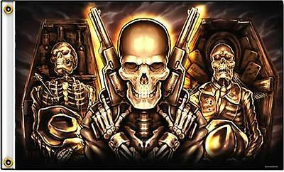TRIPLE SKELETONS IN COFFIN W GUNS  3 X 5 MOTORCYCLE DELUXE BIKER FLAG #539 w