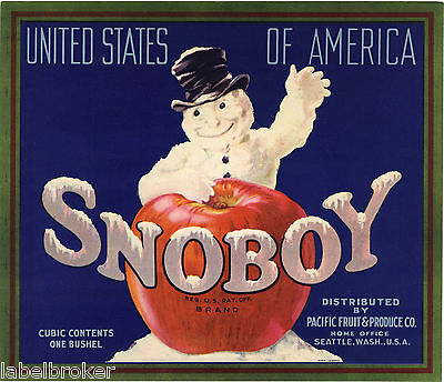 Apple Crate Label 1940S Christmas Xmas Snoboy Snowman Frosty Original Seattle