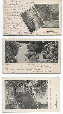 Three 1908 Private Mailing Postcards from Mill Valley Marin County CA