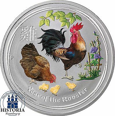 2017 Australia 1 oz Silver Lunar Rooster BU 1 Dollar Silver Coin coloured
