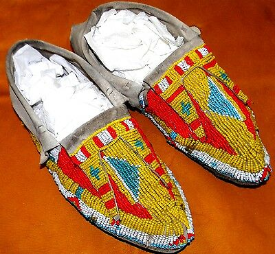 "Vintage 11-3/4"" Antique Rare Split Tongue Circa 1885 Lakota Sioux Moccasins"