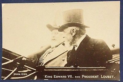 King Edward Vii And Pres. Loubetb Foto-Cartolina Nuova Rara