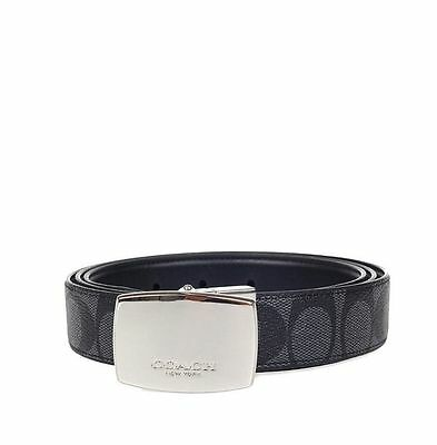 """NWT F64828 Coach  1-1/4"""" Signature Reversible CUT TO SIZE Belt  in Brown/Black"""