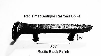 "3-1/2"" Left Black Railroad Spike Dresser Drawer Cabinet Handle Antique Vintage"