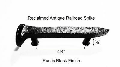 "4-1/2"" Left Black Railroad Spike Door Handle Pull Gate Antique Vintage"