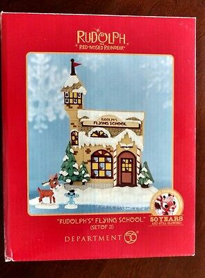 Department 56 Rudolph's Flying School Christmas Village Figurines BNIB Set of 3