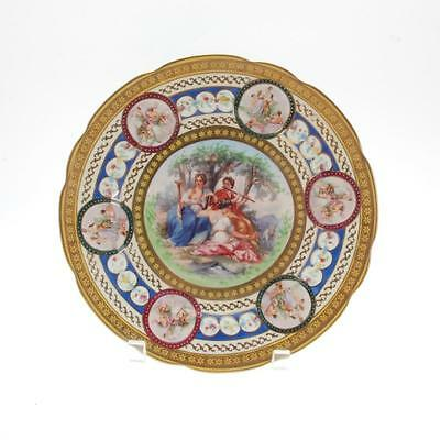 Saxe Prussia Germany Handpainted Porcelain Plate With Gold