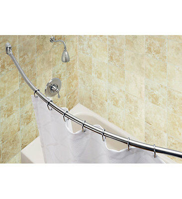 Curved Shower Rod with Brushed Stainless Steel Finish