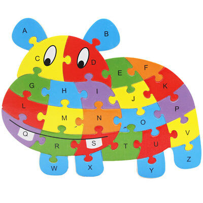 Colorful Hippo Wooden Alphabet Puzzle ABC English Letters Kids Education Toy