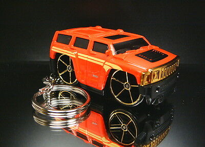 Hummer H3 Key Chain Ring Red Stylized Diecast Custom 3D Fob