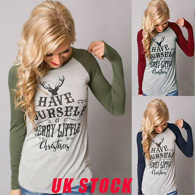 HOT Womens Long Sleeve Shirts Christmas Casual Cotton Tops Blouse Size 6 - 18