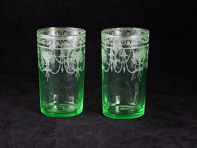 Pair Etched Green Vaseline Optic Glass Tumblers