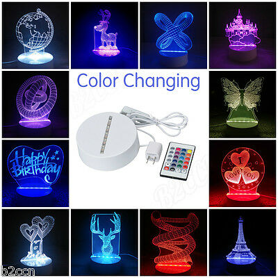 3D LED Remote Control Nightlight Color Changing Unique Home Decor USB Table Lamp