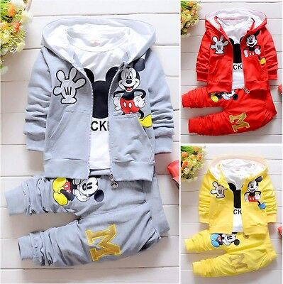 Mickey Toddler Baby Boys Hooded Tops T-shirt Pants 3Pcs Outfits Set Clothes 0-4Y