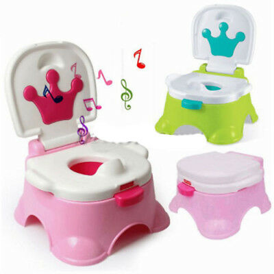 3 in 1 Baby Kid Toddler Training Toilet Music Seat Potty Chair Trainer Bathroom