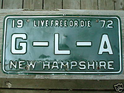1972 New Hampshire License Plate G-L-A