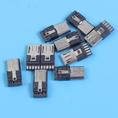 10pcs Micro USB Male 5P Pin Welded-Type Plug Socket For Industrial Connector DIY