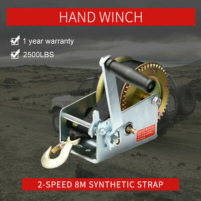 2500lbs/1136Kg 2 Speed Hand Winch 8m Synthetic Cable Off Road 4X4WD Winch