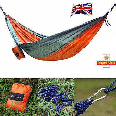 Portable Hammock Travel Camping Outdoor Parachute Hanging Bed Nylon Swing  UK