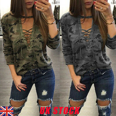 Fashion Womens Loose V Neck T Shirt Long Sleeve Camouflage Tops Blouse Print