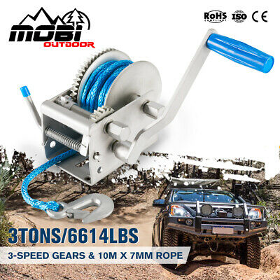 Hand Winch 1500lbs /680Kg 2-Gears 8m Synthetic Cable Boat Trailer 4WD Winch
