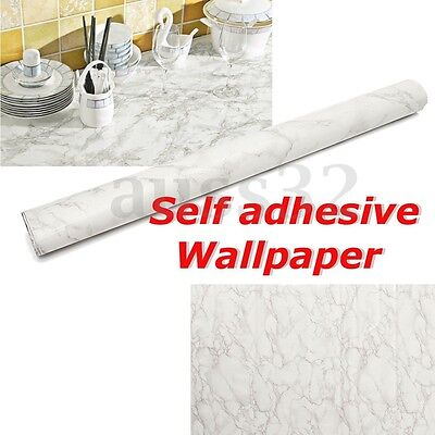 Gray Marble Decal PVC Contact Paper Peel Wall Sticker Home Decoration 79x24''