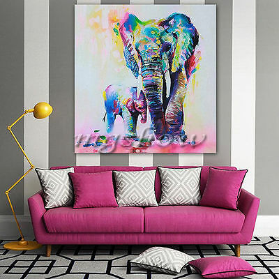 """Multicolored Elephant"" Canvas Print Wall Art Painting Picture HD Unframed Decor"