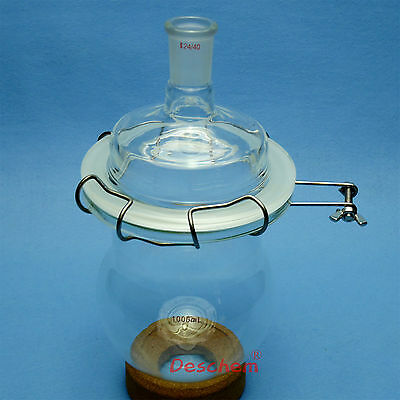 1000ml,24/40,Glass Reaction Reactor,One Necks,1L,Reaction Vessel,W/Lid and Clamp