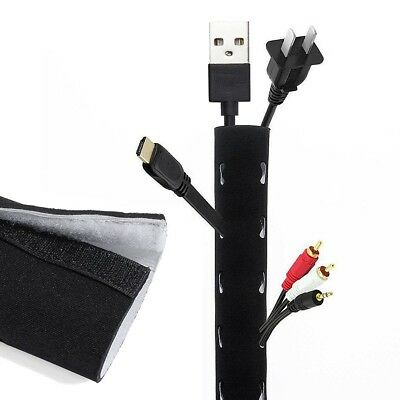 """1 Roll 1.25M 49"""" Cable Management Sleeve Flexible Neoprene Cable Organizer Wrap"""