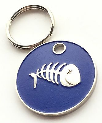 Personalised Engraved Dark Blue Fish Scales Cat Pet ID Tag 20mm