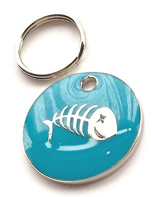 Personalised Engraved Light Blue Fish Scales Cat Pet ID Tag 20mm