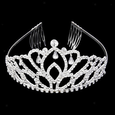 Wedding Diamante Teardrop Crown Headband Hair Comb Tiara Headpiece Pageant