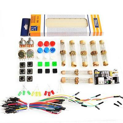 Basic Electronics starter kit, breadboard, power module, Resistors, cables, etc