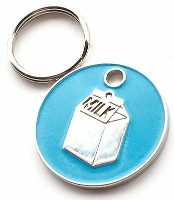 Personalised Engraved Light Blue Milk Carton Cat Pet ID Tag 20mm