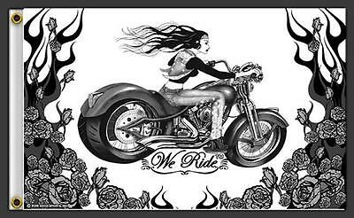 WE RIDE LADY RIDER 3 X 5 MOTORCYCLE DELUXE BIKER FLAG #727 NEW wall hanging