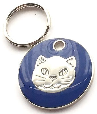 Personalised Engraved Dark Blue Cat Kitten Face Cat/Dog Pet ID Tag 20mm