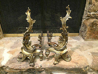 Antique 19Th Century Bronze Brass Louise Xv Flames Fireplace Andirons French